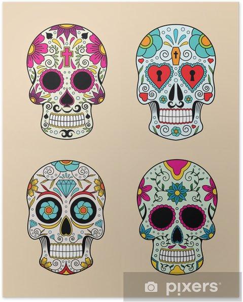 Poster Illustration vectorielle ensemble de crânes dans la tradition mexicaine - Signes et symboles