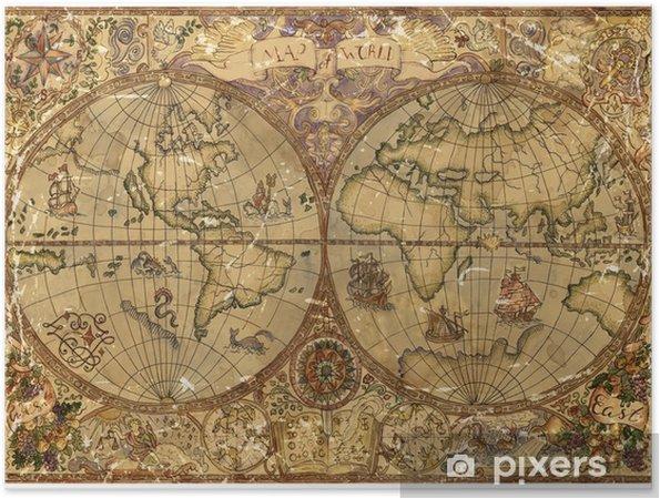 Carte Du Monde Parchemin poster illustration vintage avec carte du monde atlas sur vieux parchemin  texturé