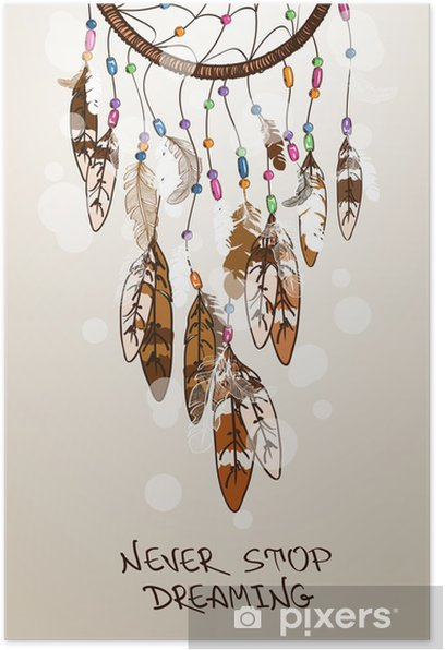 Illustration with American Indians dreamcatcher Poster - Esoteric