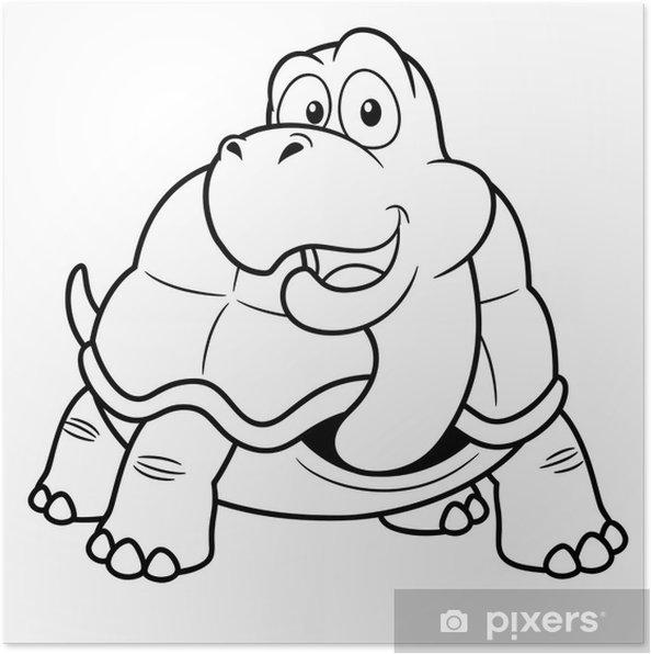 Póster Ilustración De La Tortuga De Dibujos Animados Libro Para Colorear