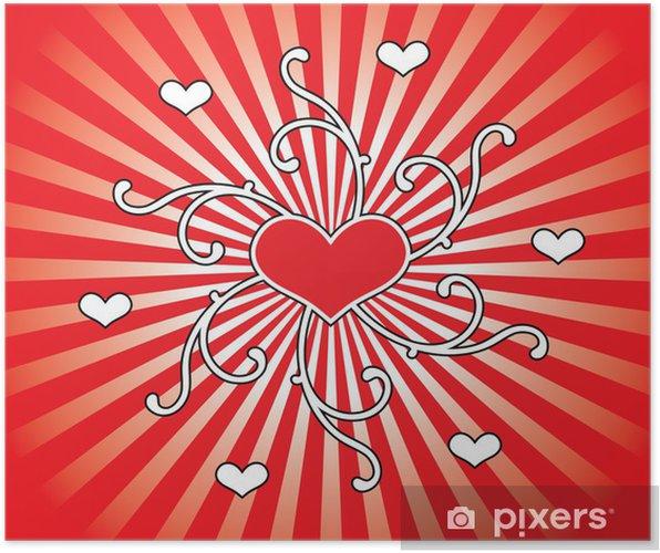 Póster Ilustración de los corazones y los ornamentos. - Felicidad