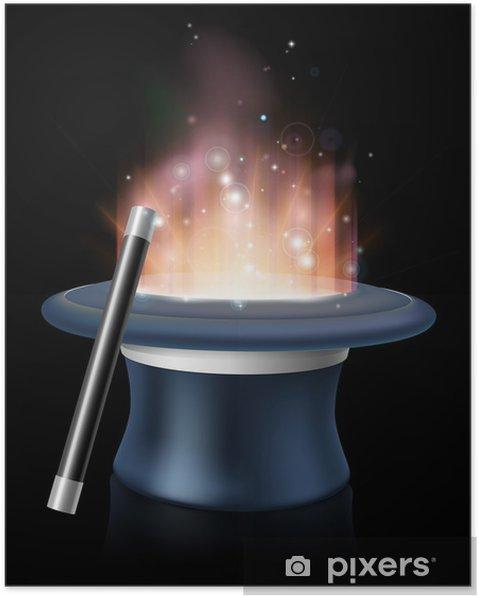 Póster Ilustración de sombrero mágico y una varita mágica - Espacio exterior da7161b0e00