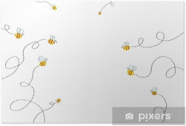 Póster Ilustración Para Niños Camino De Las Abejas Ilustraciones Fantásticas Realistas Del Estilo De La Historieta Historia Escena Papel