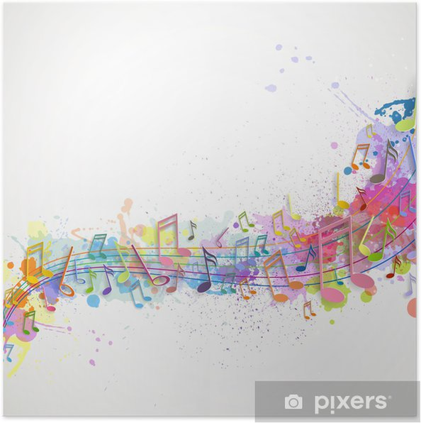 Póster Ilustración vectorial de un fondo abstracto con notas de música - Fondos