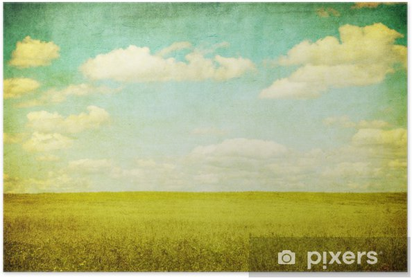 Poster Image de grunge de champ vert et bleu ciel - Thèmes