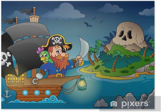 Poster Image de thème de bateau de pirate 4 -