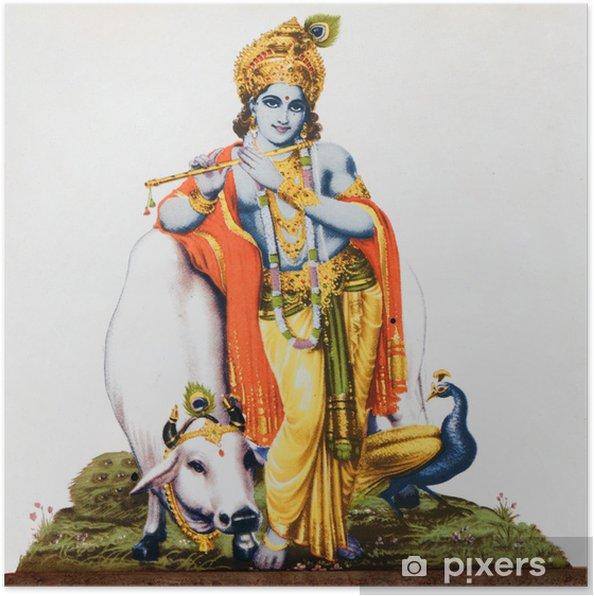 Póster Imagen del dios hindú Krishna con la vaca, pavo real, flauta - Estilos