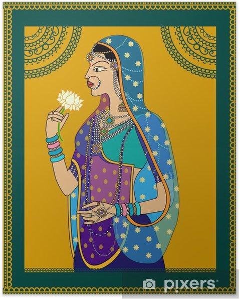 Poster Indian Queen / prinses portret geïnspireerde door de 16e eeuw India Rajput en Mughal stijl van de kunst. - Mensen