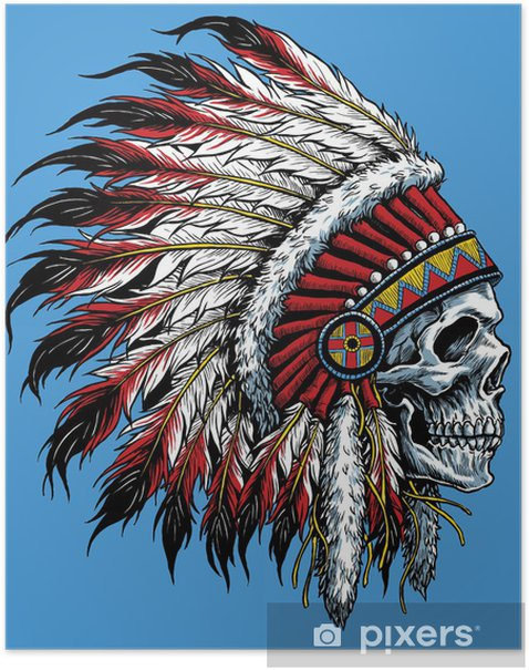 Indian skull vector illustration Poster - Styles