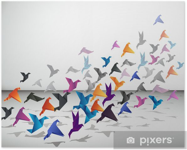 Indoor flight, Origami Birds start to fly in closed space. Poster - Styles