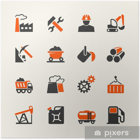 Poster Industrial web icon set - Industrie lourde