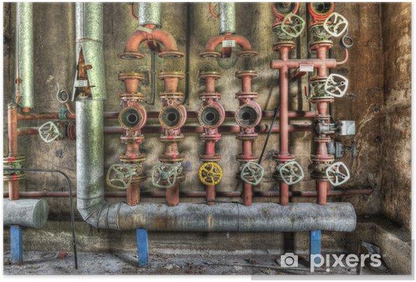Poster Industriële boiler kamer in een vervallen fabriek - Industriële en Commerciële Gebouwen