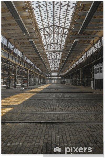 Poster Industriële interieur van een oude fabriek - Zware Industrie