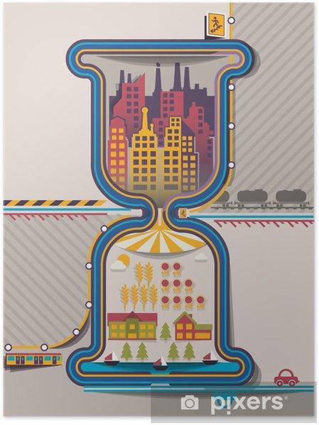 Póster Info Ciudad gráficos de reloj de arena, vector de fondo - Urbano