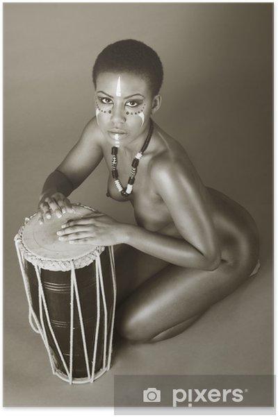 Poster Inhemsk naken African American kvinna med trummor - Teman