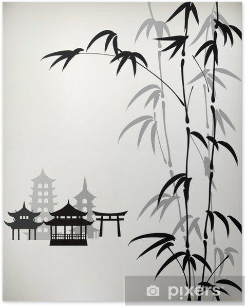 Poster Inkt geschilderd bamboe - Kunst en Creatie