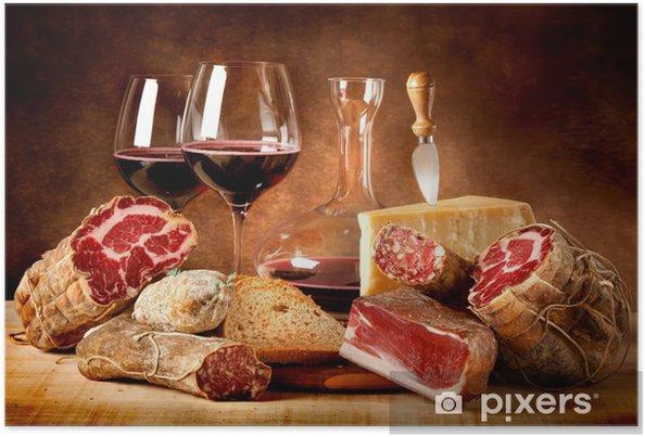 Poster Insaccati con formaggio e vino rosso - Thema's