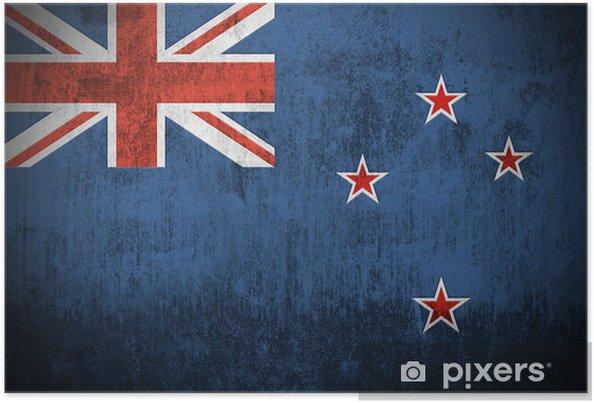 Poster Intempéries Drapeau de la Nouvelle-Zélande, le tissu texturé .. -