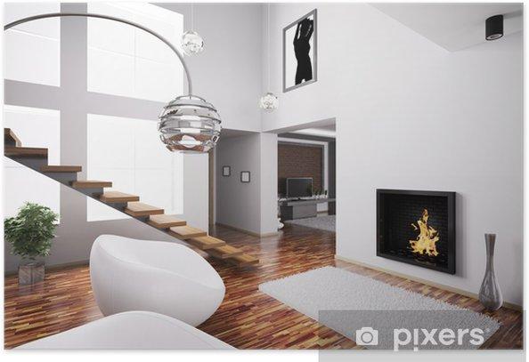 Poster Intérieur avec cheminée et escalier 3d - Propriétés privées