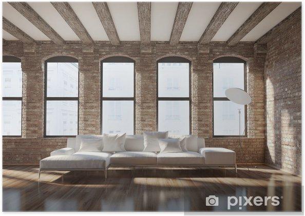Poster Intérieur élégant loft contemporain, avec des murs de briques, un  canapé blanc
