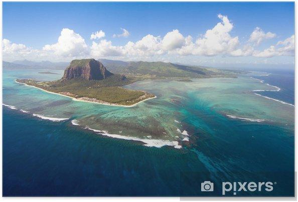 Póster Isla Mauricio aérea - África