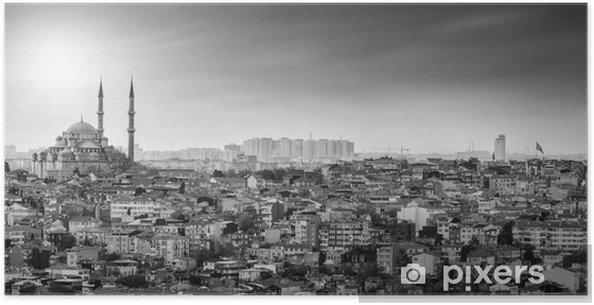Poster Istanbul Moskee met woonwijk in zwart-wit - Midden Oosten