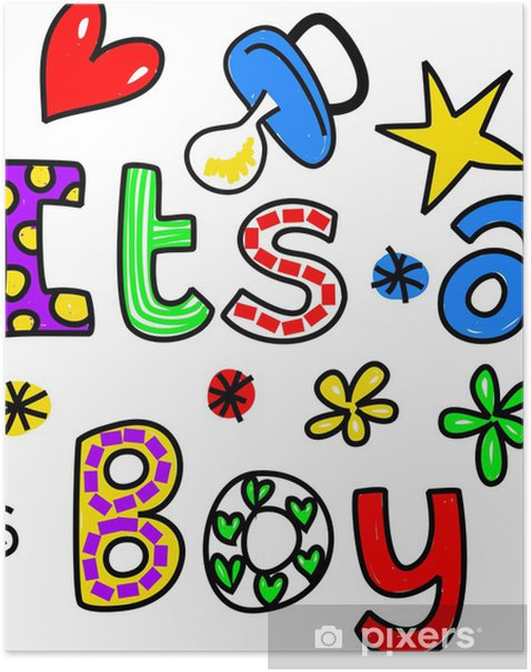 It's a Boy Cartoon Text Clipart Poster - Destinations