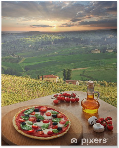 Poster Italiaanse pizza in Chianti, Toscane landschap, Italië - Thema's