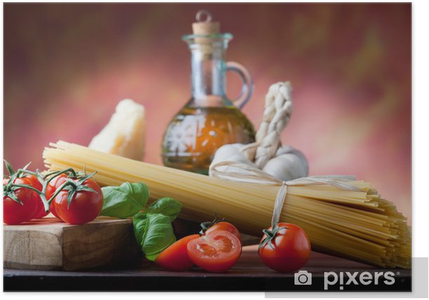 Italian pasta with basic ingredients Poster - Themes