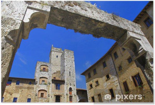 Poster Italie médiévale - San Gimignano, Toscane - Europe