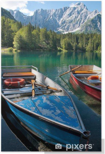 Poster Italie - Udine - Lago di Fusine e monte Mangart en bateau à ramer - Europe