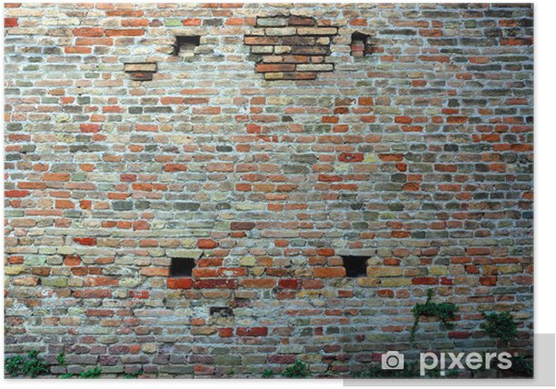 Italy Ravenna, medieval stone and brick wall Poster - Europe