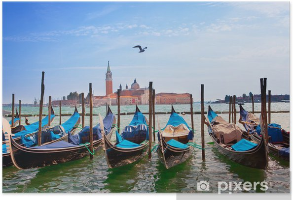 Italy. Venice. Gondolas in the Canal Grande.. Poster - Themes