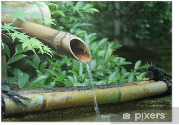 Japanese Bamboo Fountain Poster