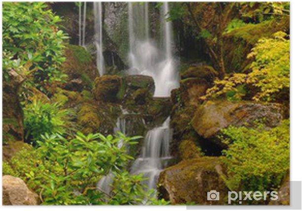 Japanese gardens waterfall in portland oregon poster - Portland japanese garden free day ...