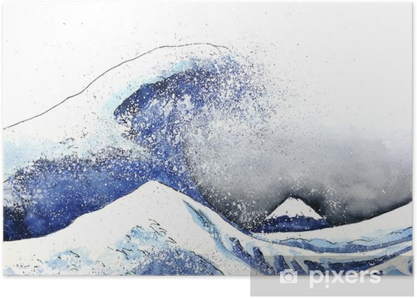 japanese great wave art. watercolor style.hand drawn Poster - Landscapes