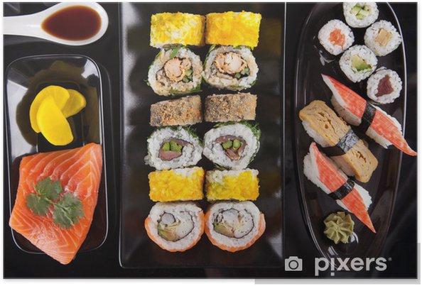 Poster Japonais ensemble de fruits de mer sushi - Thèmes