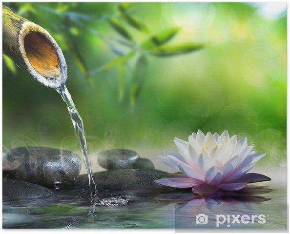 Poster Jardin zen avec des pierres de massage et nénuphar - Styles
