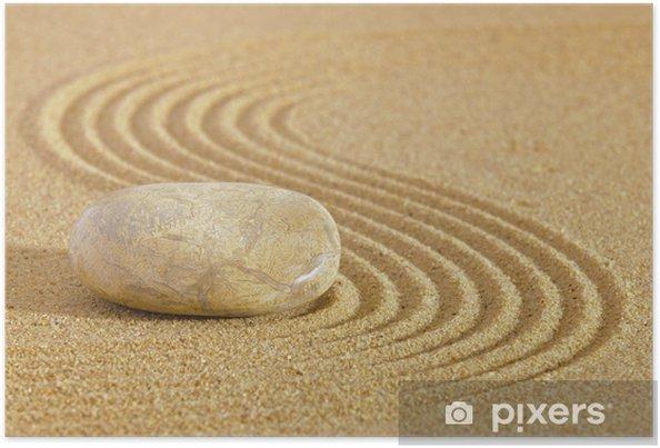 Poster Jardin zen japonais avec de la pierre dans le sable ratissé - Textures