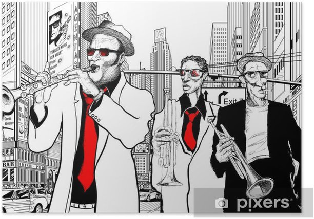 jazz band in a street of new-York Poster - Jazz