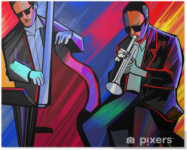 jazz band with trumpet and double bass Poster - Jazz