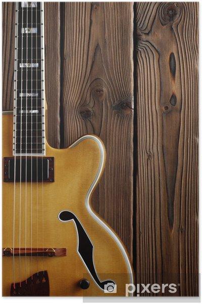 klassinen tyyli kilpailukykyinen hinta hieno tyyli jazz guitar on aged wood Poster