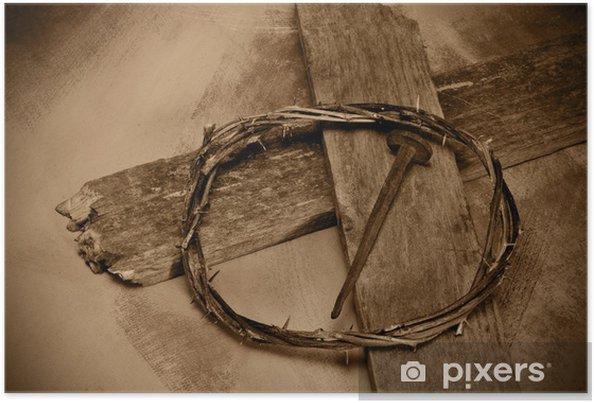 Póster Jesucristo Cruz Clavos Y Corona De Espinas Pixers
