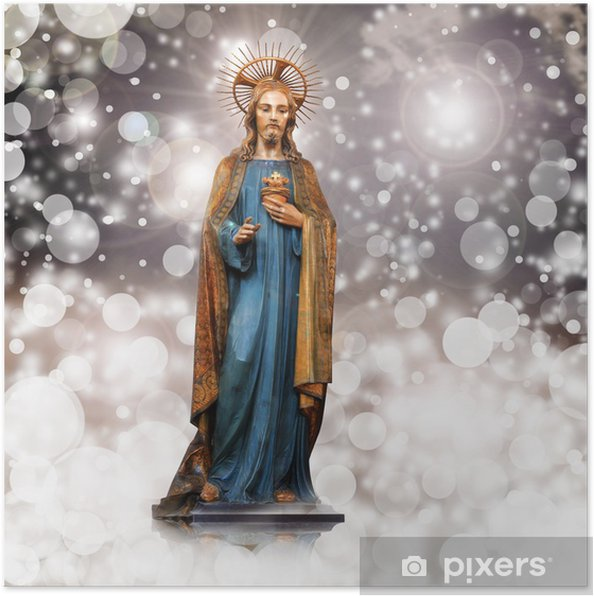 Poster Jésus christ, statue, Noël, fond rose - Thèmes