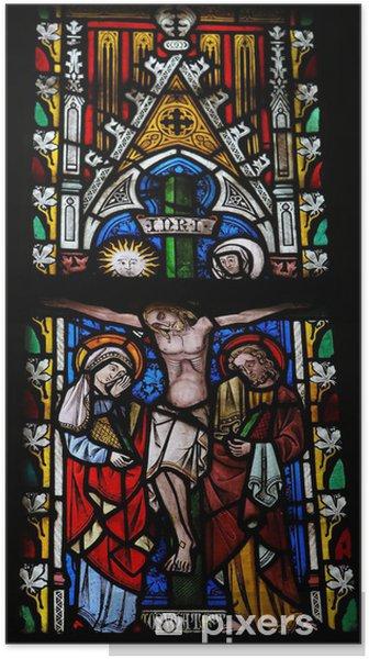 Poster Jésus sur la croix - verre souillé - Bâtiments publics