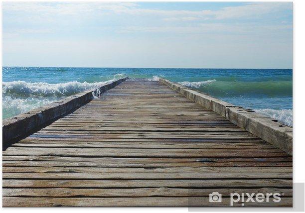 Poster Jetée en bois menant à la mer bleue - Thèmes