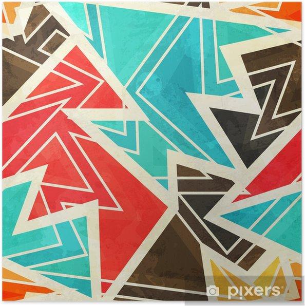 Poster Jeugd geometrische naadloze patroon met grunge effect - Grafische Bronnen