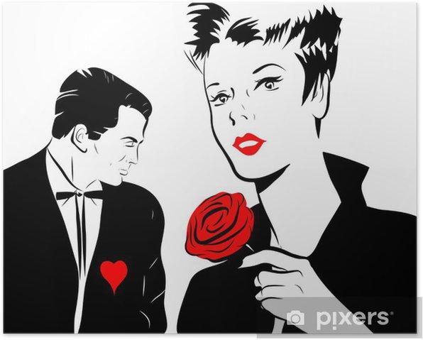 Poster Jeune femme amoureuse rose rouge homme coeur - Fêtes internationales