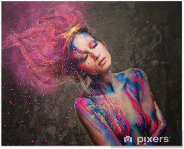 Poster Jeune femme muse de l'art du corps créatif et coiffure - Destin