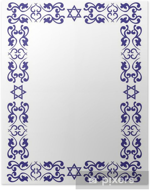 Jewish floral border with David star on white background Poster - Religion